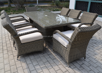 8 seater rattan chair and umbrella table furniture outdoor modern dining set