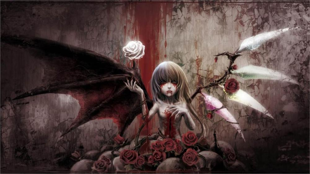 Gothic wings blood Home Decoration Canvas Poster Prints