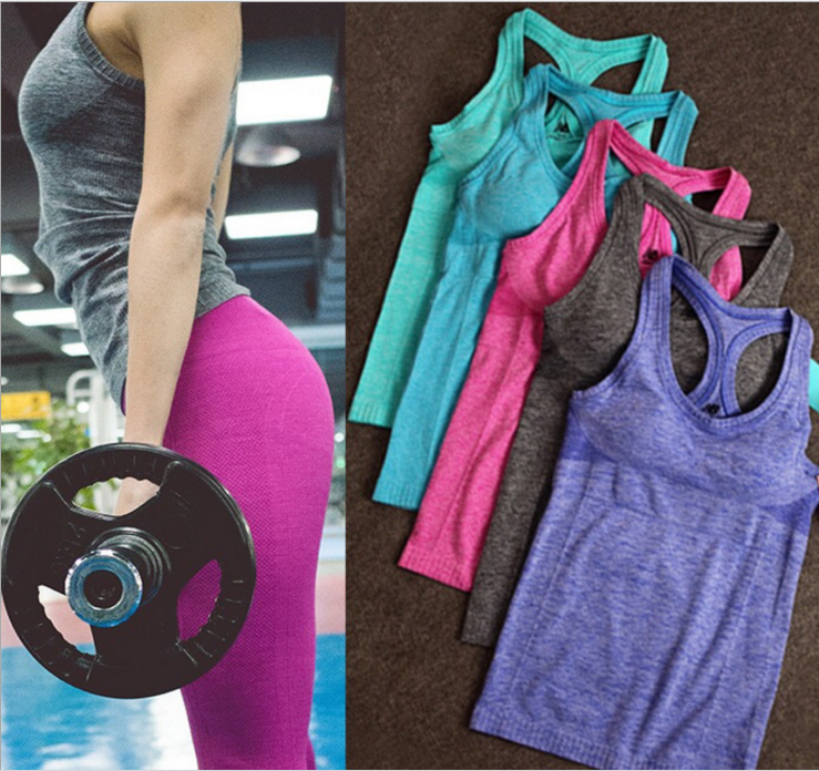 Upgrade to wear the pad without steel ring yoga wear for the fitness of the body of the gym vest