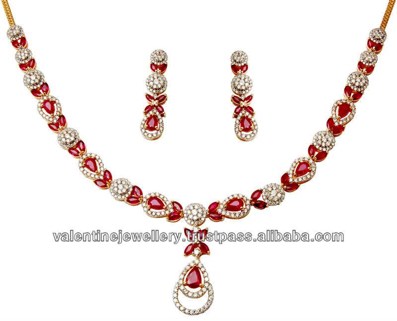 Ruby Gold Necklace Set Designer Jewelry Necklace Set Indian