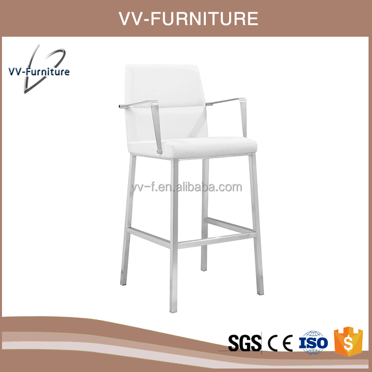 New arrival stainless steel fixed height bar stool with armrest