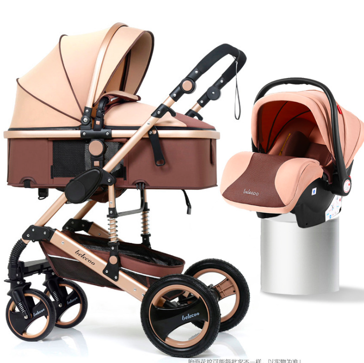 3 en 1 cochecitos de bebé de alta paisaje plegable del coche