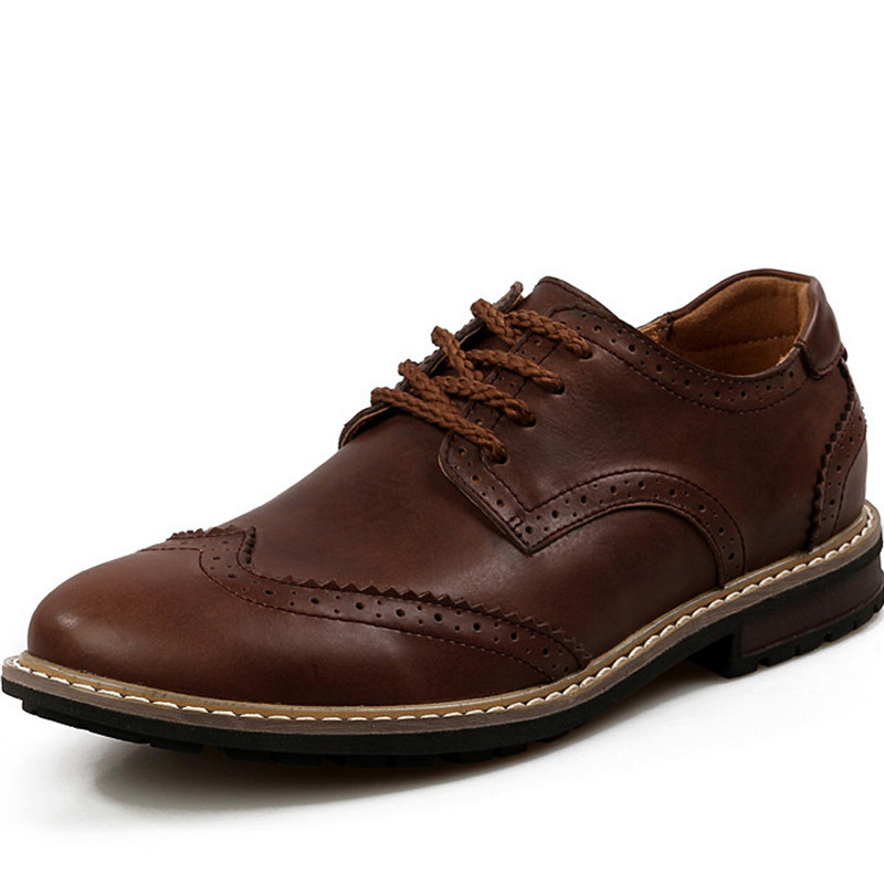 New Arrival 2015 Genuine Leather Oxford Shoes For Men Dress Shoes Fashion Casual Breathable Spring Autumn Blue Brown Size 38-43