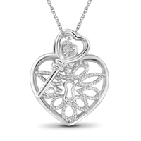 925 Sterling Silver White Diamond Accent Heart Lock-Key Pendant Necklace