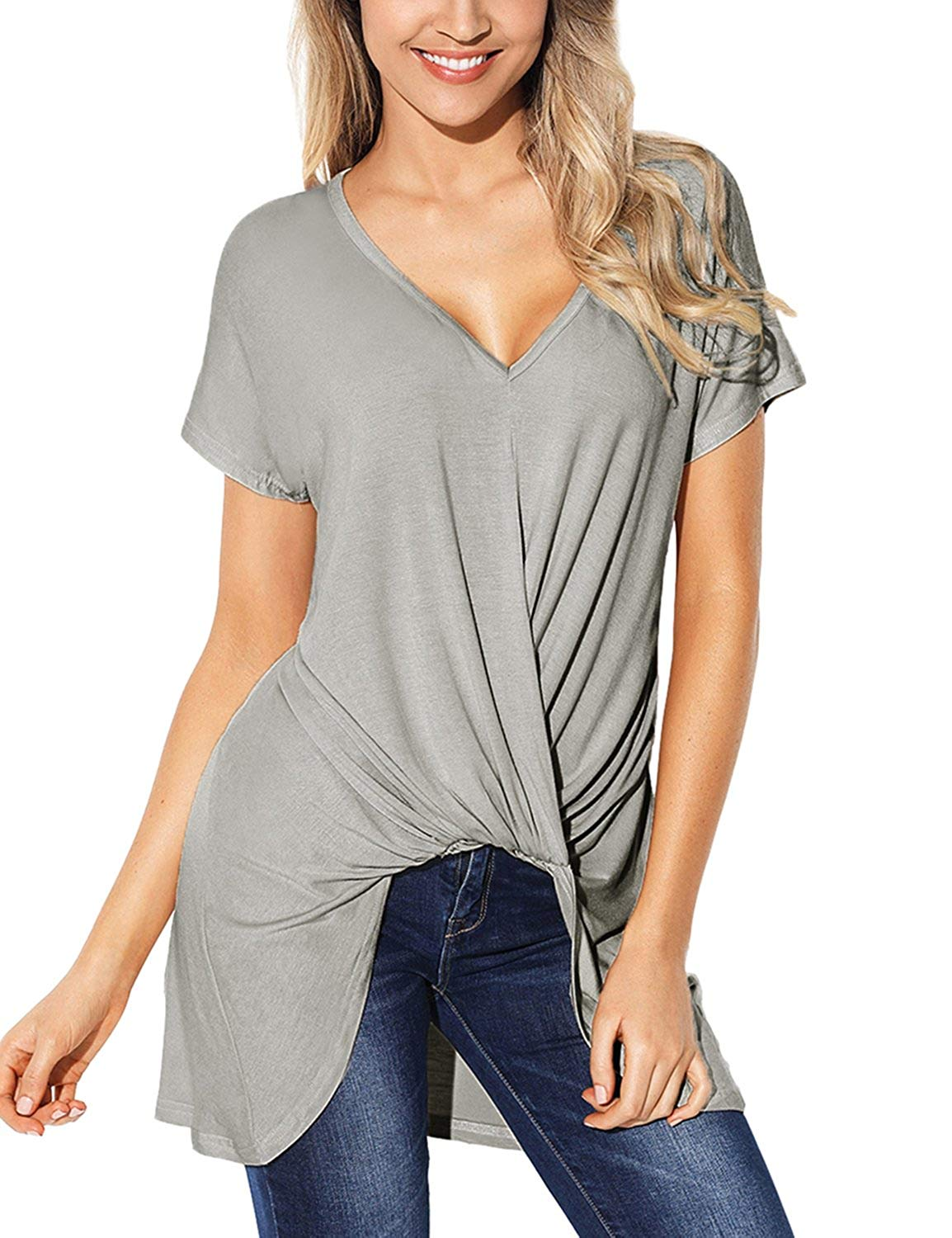 ad57442ed6322 Get Quotations · Utyful Women s Casual Short Sleeve High-Low Twist Front  Tunic Top Blouse Shirt