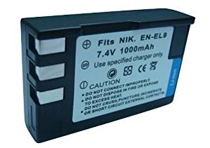 Rechargeable Li-ion Battery Pack for Nikon EN-EL9 EN-EL9a EN-EL9e and Nikon D40, D40x, D60, D3000, D5000 Digital SLR Camera