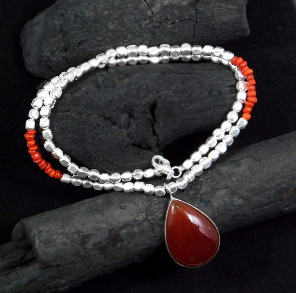 solid sterling 925 silver Beads Necklace, carnelian beads necklace, carnelian gemstone pendant necklace, natural beads & gemstone handmade designer necklace