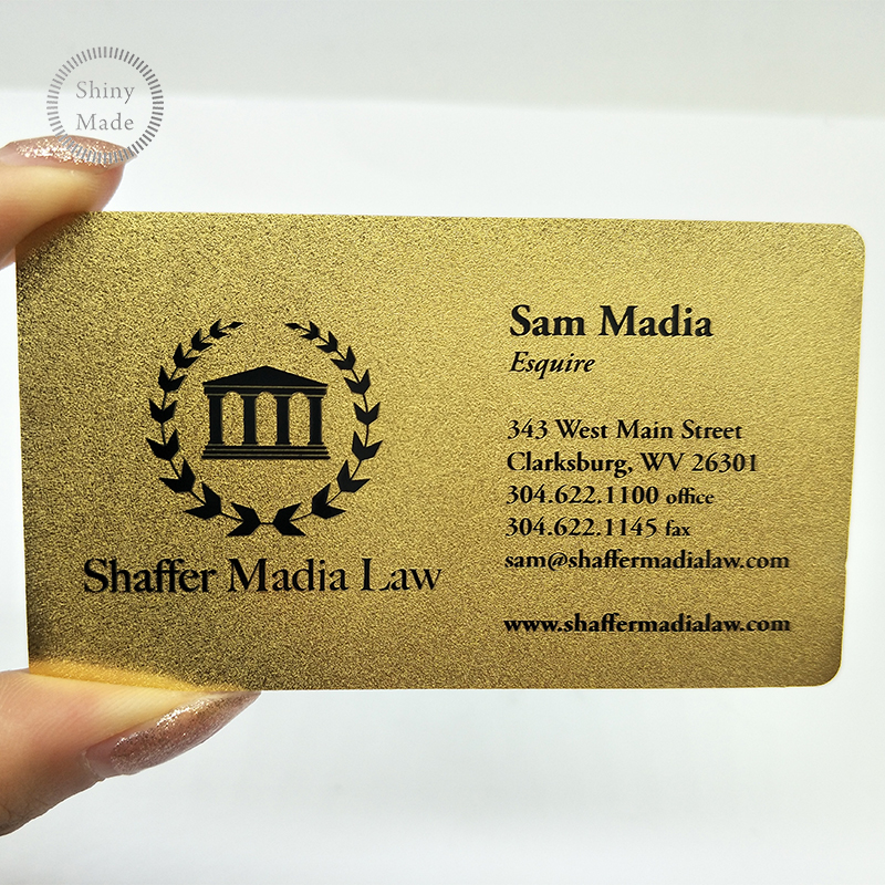 Custom Printing Embossed Gold Metal Business Card golden metal card manufacturer