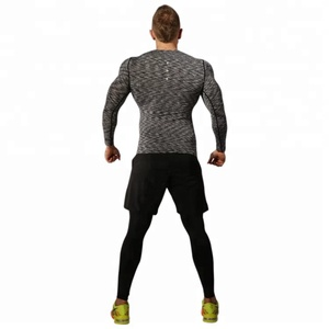 Ptsports wholesale men sport wear three pieces tight sets fast dry fit sportswear long sleeves compression T shirt