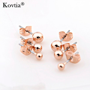 Simple Design Cute Rose Gold Plated Ear Studs Three Row Small Stud Earrings for Women