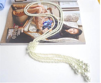 Long Knotted Multi Simulated Pearl Necklace Women Fashion Chain Accessories Jewelry for Girl