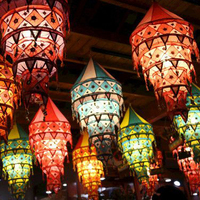 Chinese silk palace building lantern lighting decoration for chinese new year