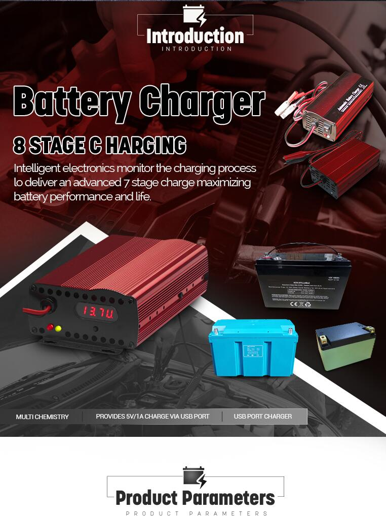 Custom made Modern 12V 10A 200W Overload Protection Electric Lithium Battery Charger for Car