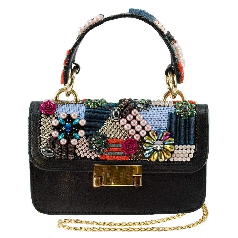 Mary Frances Menagerie, Black, Embellished Leather Top-Handle Satchel