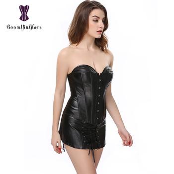 plus size xxxxxxl black synthetic leather clubwear dress