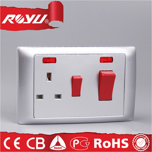 13A 3 pin british standard COC approved BS 1363 socket with indicator light