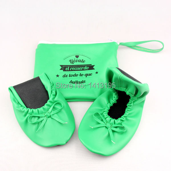 Free shipping ! 2015 Unique green flat wedding shoes folding ballet shoes