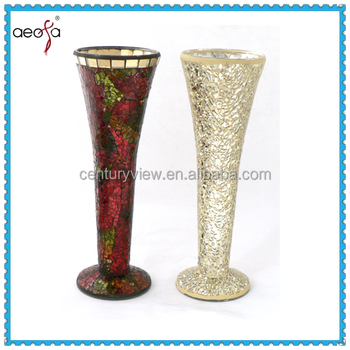 Glass Colored Tall Mosaic Vases Wholesale Used Decorage Buy Glass