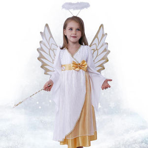 Kids Girls Angel Halloween Costume Children's Day Fancy Dress Costume Full Set With Wing Halloween Party SH0495