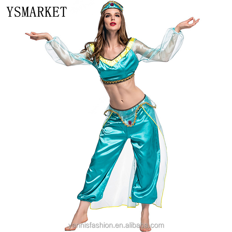 New Women Halloween Cosplay Party Wedding Belly Dancer Aladdin Princess Jasmine Costume Adults фото