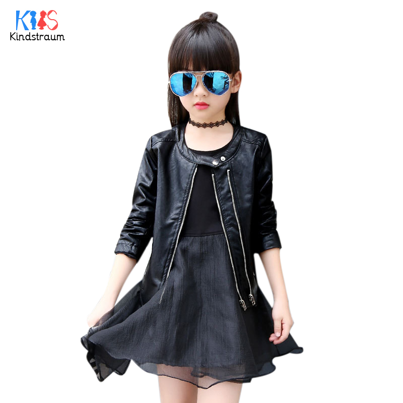 US $18 99 |Kindstraum 2018 New Thick Kids Solid PU Leather Jackets Brand  Children O neck Long Sleeve Coats Winter Outwear for Girls,RC1082-in  Jackets