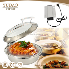 Guangzhou 6L discounting stainless steel buffet catering restaurant round electric induction heater cooper sunnex chafing dish