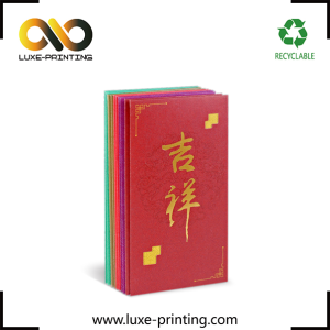 Custom 120gsm touch paper red envelope gold foiled angpow packet