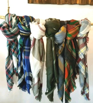 Personalized blanket tartan scarf buffalo plaid cozy and softest blanket scarves