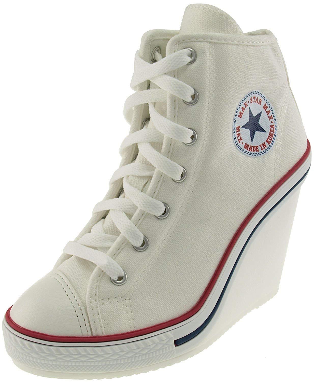 7a5c0ccd9c81 Buy Maxstar 777 Side Zipper Canvas Toe Open Wedge Heels Shoes in ...
