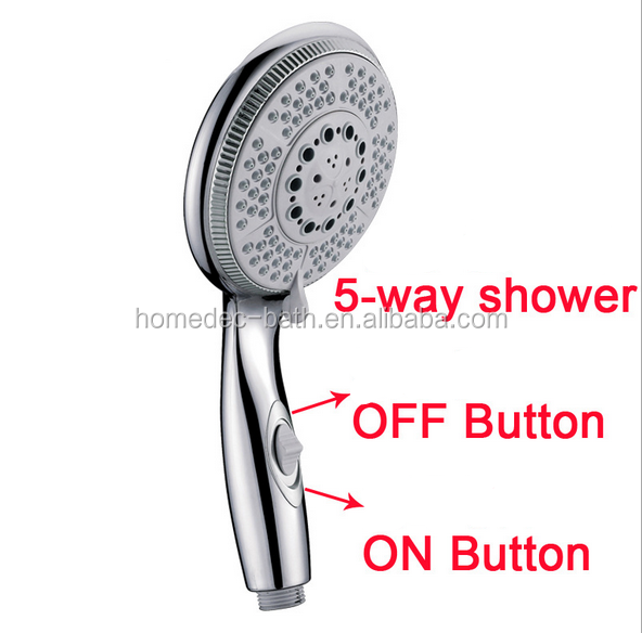 ABS Hand Shower Head 5 Functions With Switch Button