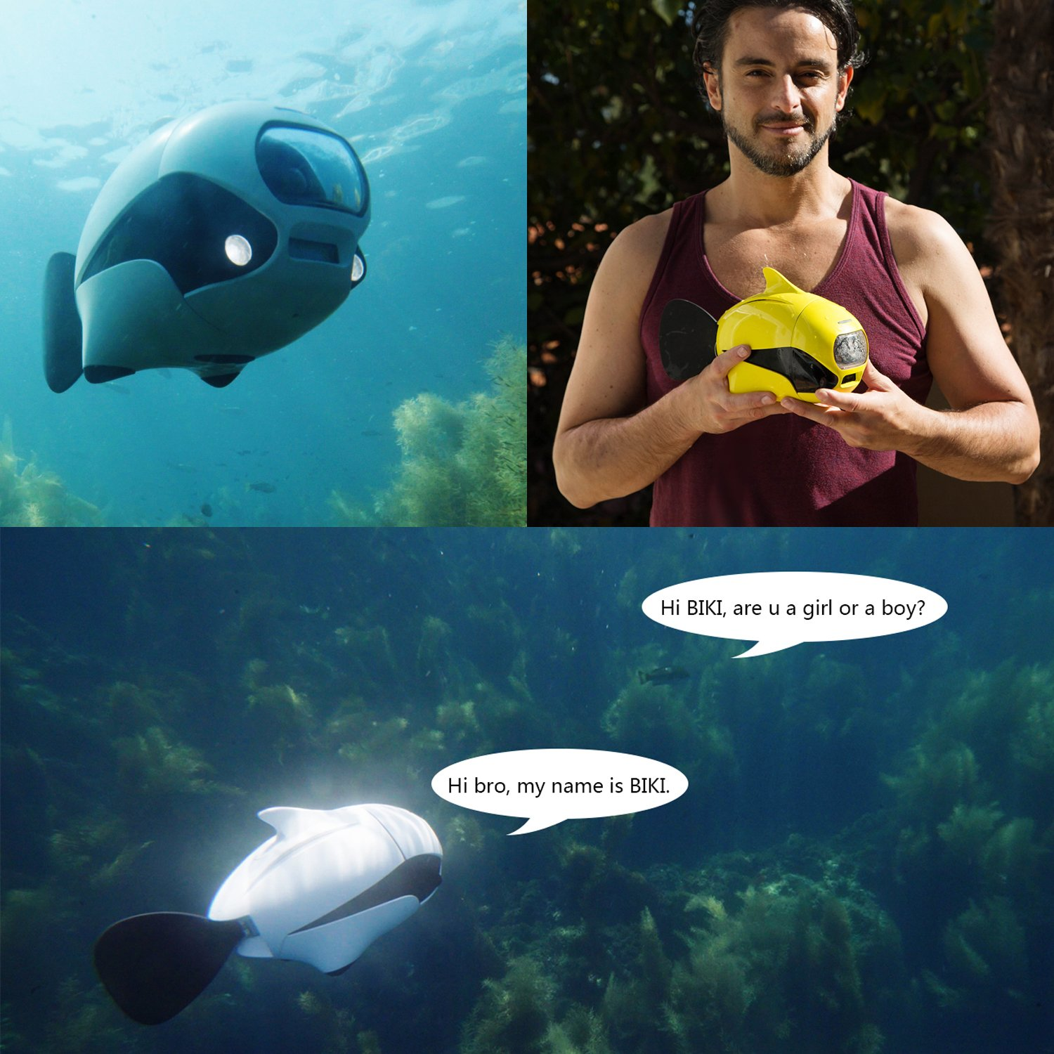 ROBOSEA BIKI, Submersible Wireless Remote Control Underwater Drone with 4K HD Camera, WIFI Connection Bionic Design Fish Robot