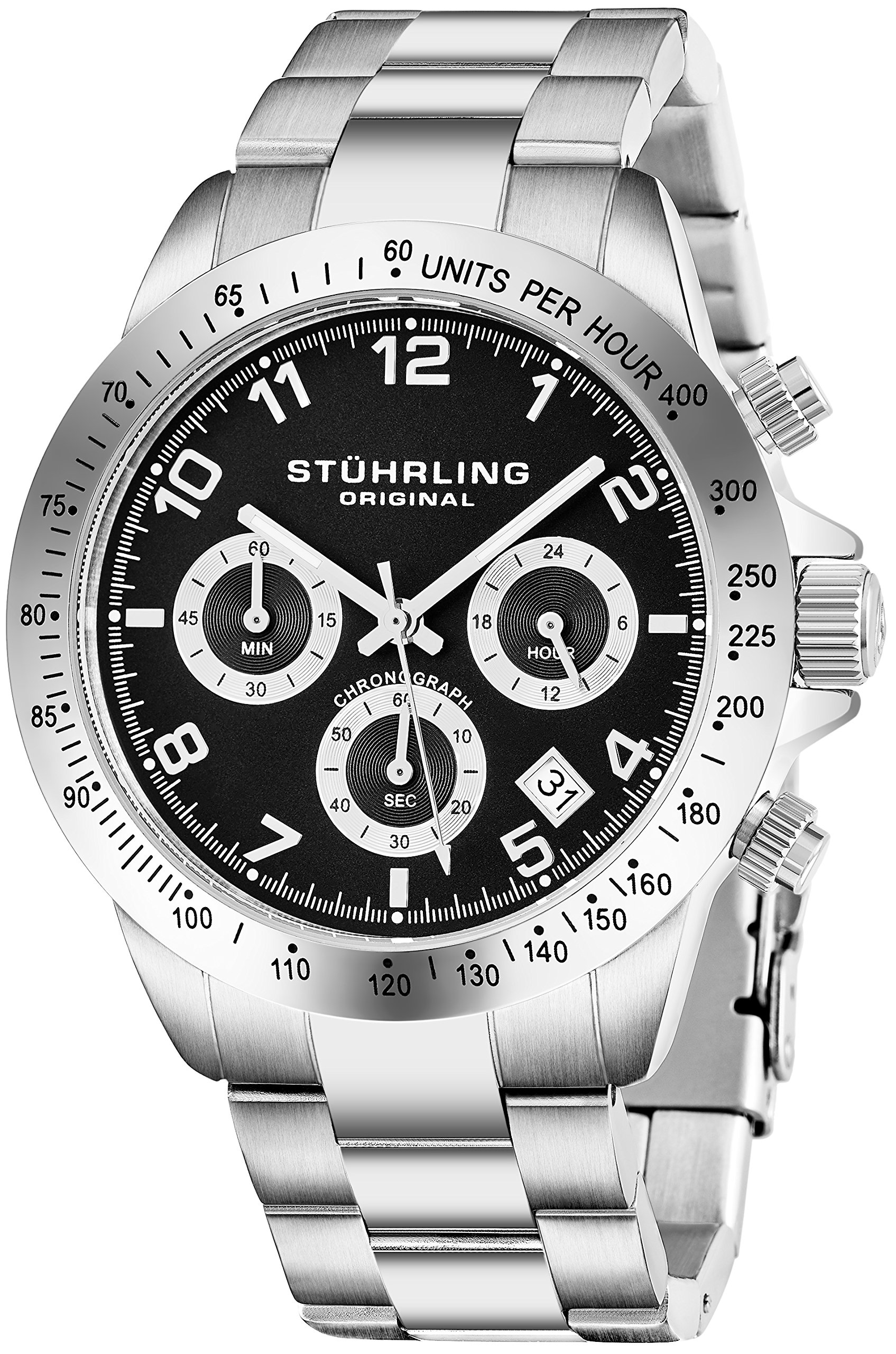 033f40446 Get Quotations · Quartz Chronograph Mens Watch by Stuhrling Original with  Black, Blue or Silver Dial. Solid