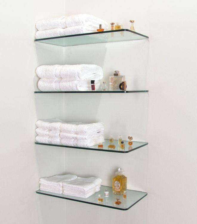 Flat Polished Edge Tempered Wall Mounted Bathroom Gl Shelf