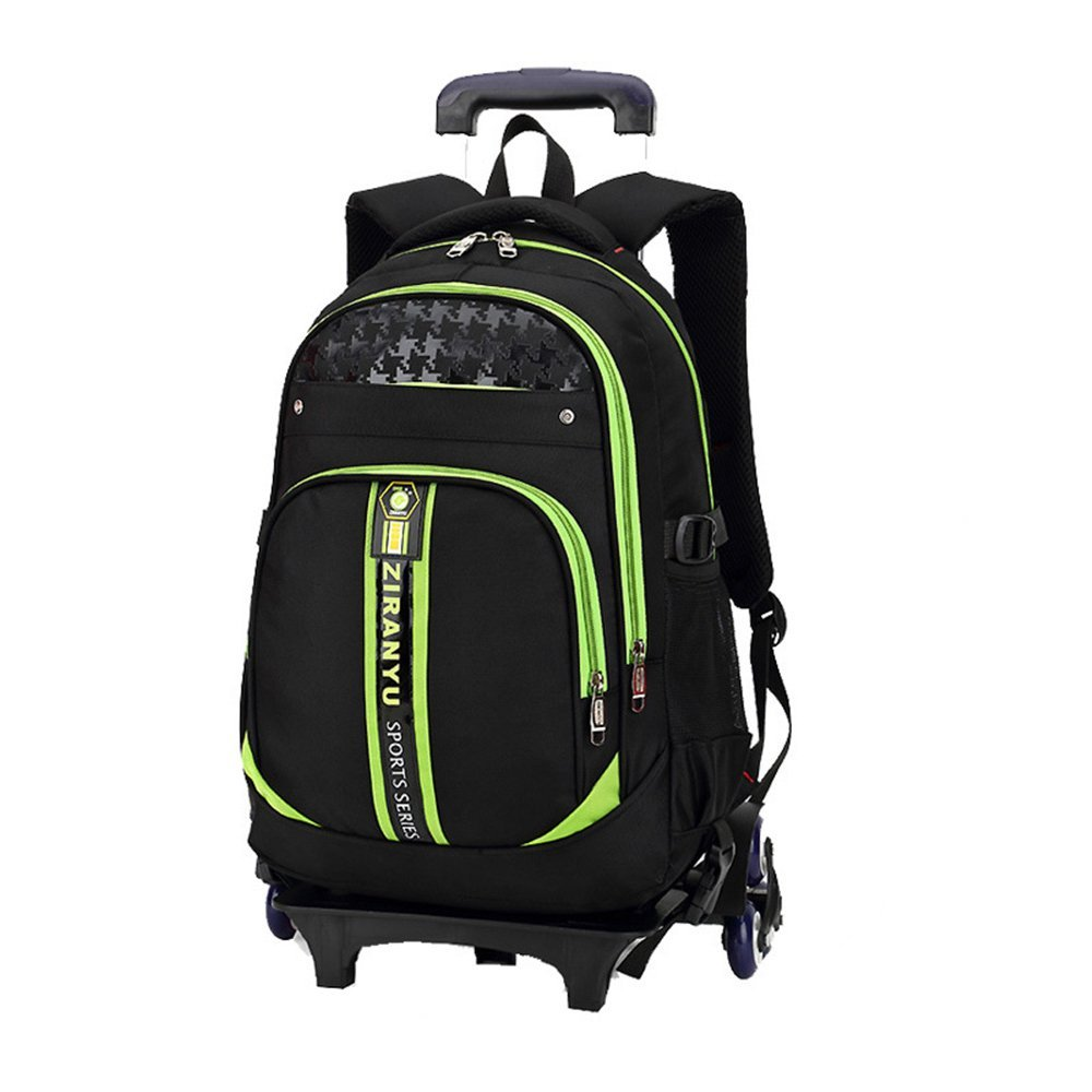 GudeHome Boys Schoolbags with 6 Wheeled Trolley Hand Backpack Luggage Bags Kids Travelling Bags for Students Green
