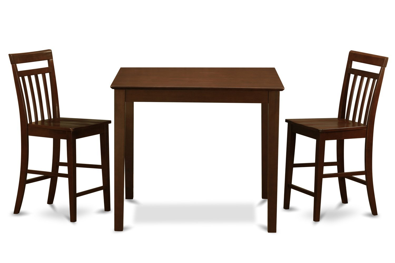 East West Furniture EAWE3-MAH-W 3-Piece Gathering Table Set