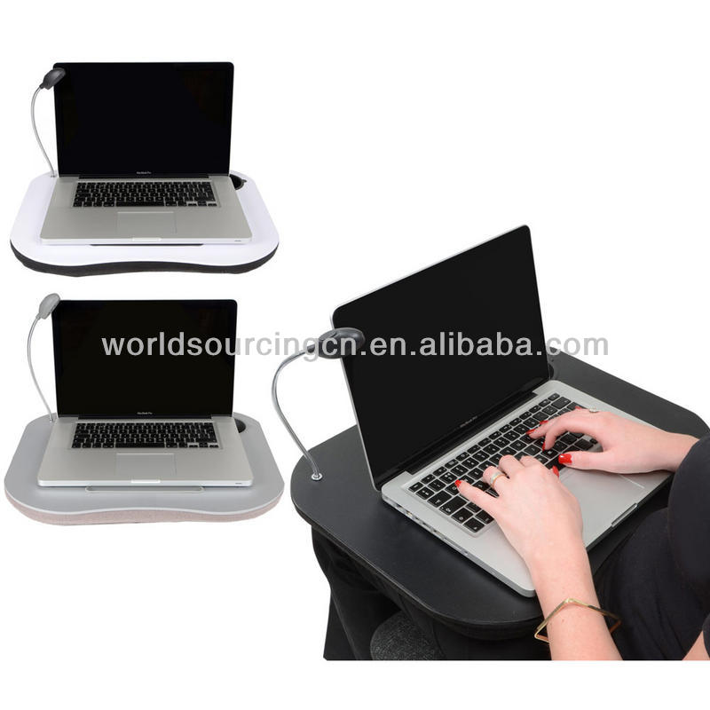 Supersoft Cushioned Portable Laptop Computer Lap Desk / Tray With LED Light, Cup and Pen Holder