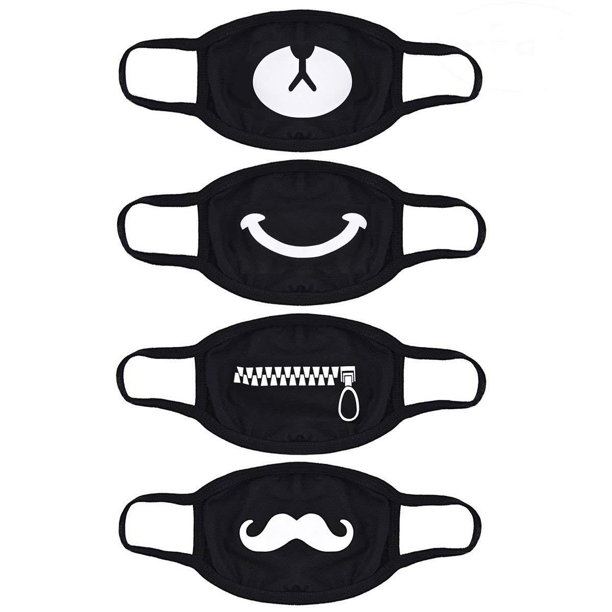 TOOGOO(R) Mouth Mask,4 Pack Kpop Mask Anti-dust Cotton Face Mask for Men and Women (1 bear 1 zipper 1 smile 1 beard)