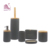 6pcs Gray Stone Effect Resin Toilet Set Accessories With Wooden Decoration for Bathroom Decor