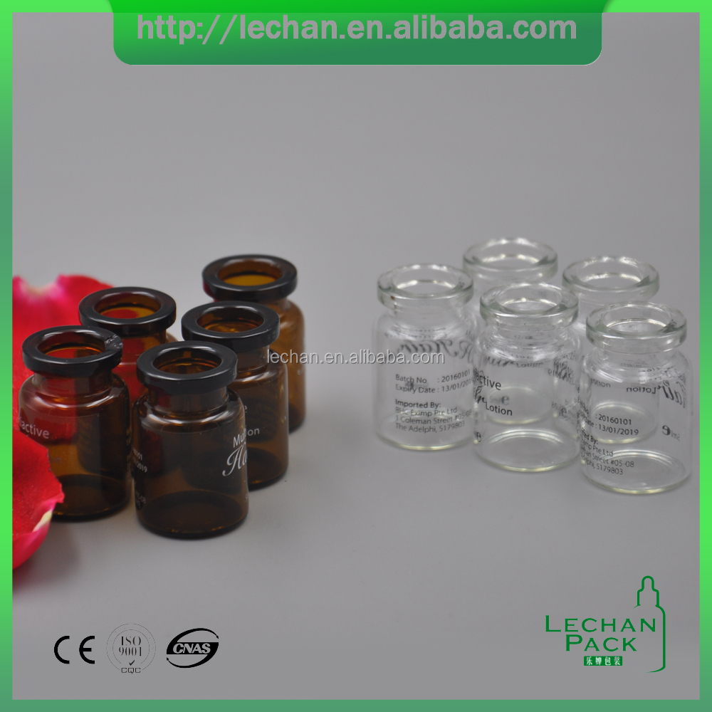 1ml- 30ml Pharmaceutical Industrial Use and amber Glass vial bottle with rubber stopper
