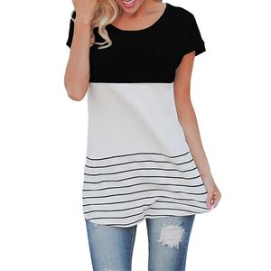 Catching Black Hit Color Stripe T-Shirt Women Tops Back Lace Patchwork Outfits Lady Blouse