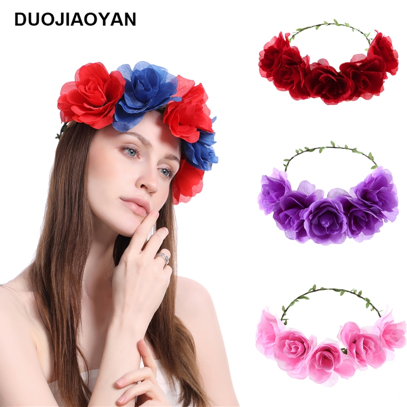 Girls' Baby Clothing Provided Women Girl Headwear Big Flower Wreath Crown Headband Floral Holiday Garlands Hair Band Accessories Red White Purple Numerous In Variety