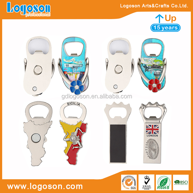 Promotional New Products Souvenir Set Sicilia Metal Magnetic Bottle Opener Personalized Opener Flip Flops Bottle Openers