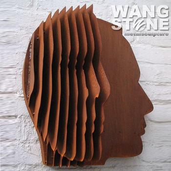 corten steel abstract face art metal wall sculpture