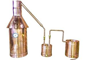 The Distillery Network® Custom Engraved 25 Gallons Professional Grade Moonshine Water Alcohol Spirits Complete Still Assembled Copper Still With Thumper Worm Cap Temperature Gauge