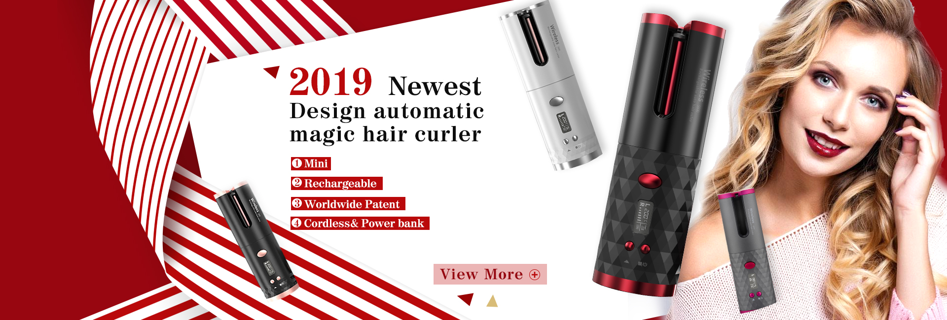 Rechargeable mini travel hair curler,wireless hair curler,the world's first cordless automatic magic hair curler
