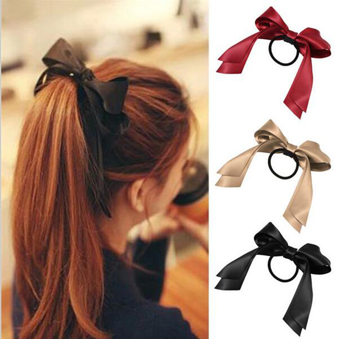 Women Tiara Satin Bow Tie Scrunch Hair Band Ribbon Scrunchie Ponytail Holder  Rope Rings Hair Accessories For Girl Pretty Hair Combs Pretty Hair Bands  From ... 63ef7ca999c