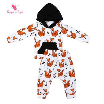 Boy Clothing set New born baby clothes sets Infant  Fox print hoodie top and pants outfit sets boys clothes