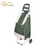 Foldable shopping trolley bag with removable bag and detachable cart and wheels