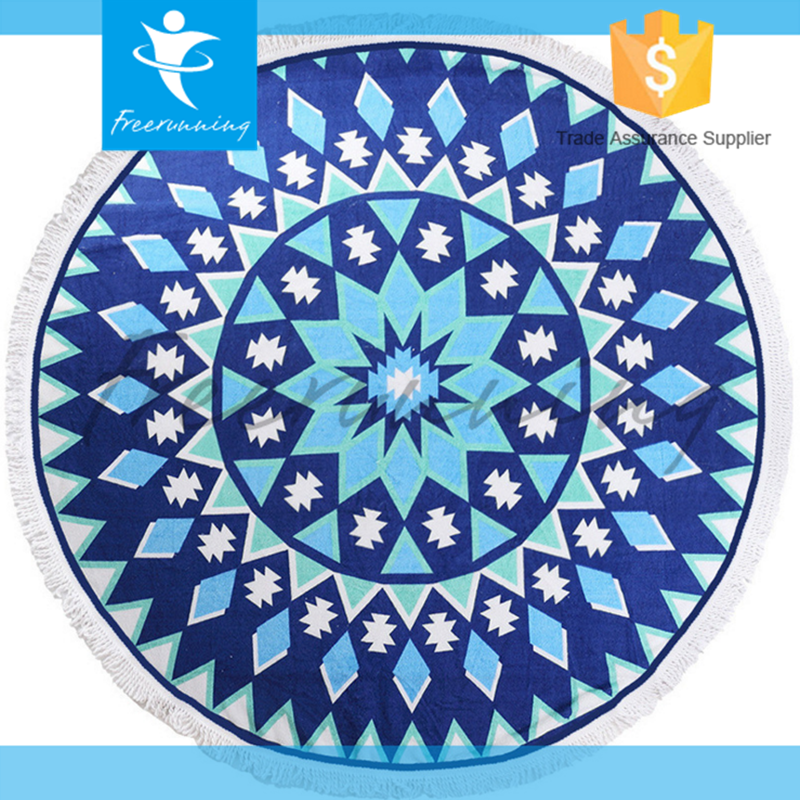 100% Cotton Full Picture Printing Round Beach Towel