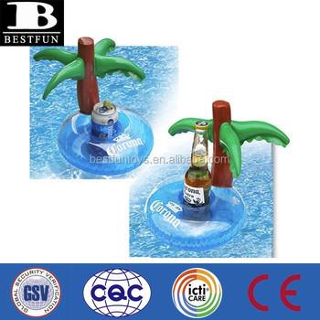 Beer Promotional OEM Custom Made Vinyl Inflatable Beer Holder Plam Tree  Pool Floating Drink Holder Beer
